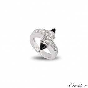 Cartier White Gold Diamond and Onyx Menotte Ring